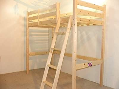 Strictly Beds and Bunks Limited SHORT Length Loft Bunk Bed - 85cm by 175cm wooden high sleeper bunkbed - Ladder can go left or right - INCLUDES 15cm sprung mattress