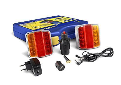 Goodyear Kit luces Bluetooth traseras LED magnéticas e inalámbricas para remolque, tráiler, caravanas. 5 V. Posición, Freno, Intermitentes y Matrícula.