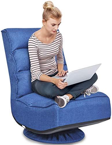 RELAX4LIFE Bodenstuhl mit 360° drehbarem Sockel, Bodensessel mit 5 winkelverstellbarer Rückenlehne 90°-135°, klappbarer Relaxsessel, bis 120kg belastbar, Lazy Sofa für Wohnzimmer und Büro (Blau)