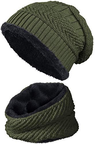 warm gefütterte Beanie + Schal mit Teddy-Fleece Fütterung mit Flechtmuster Wintermütze Einheitsgröße für Damen & Herren Mütze (4A) (Olivgrün/Schwarz)