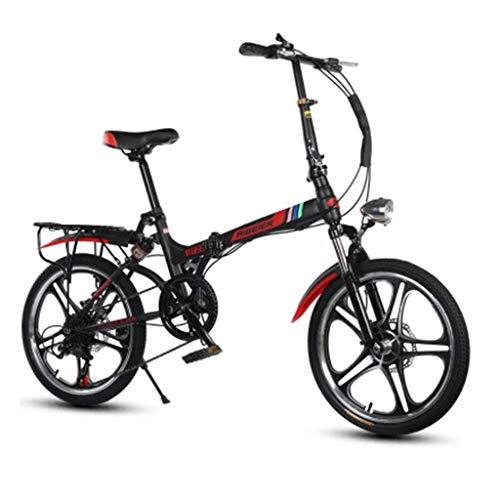 WLGQ Bicicleta Plegable 20 Pulgadas Doble Choque Una Ronda Hombres y Mujeres Estudiantes Adultos Bicicleta de montaña Ultraligera (Color: Negro, Tamaño: 155 * 30 * 95 CM)