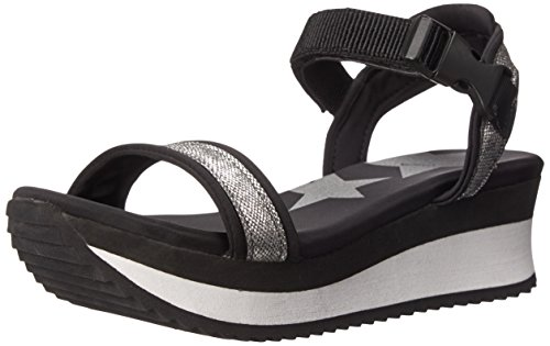 Dirty Laundry by Chinese Laundry Women's Gung HO PU Platform Sandal, Black/Silver, 8 M US