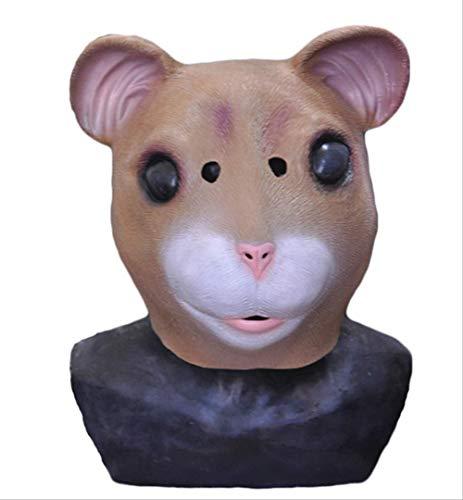 tytlmaske Hamster Kopf Latex Maske,Cosplay Tier Maske,Für Karneval Halloween Weihnachten Ostern Spielzeug,Passend Für Erwachsene Größe