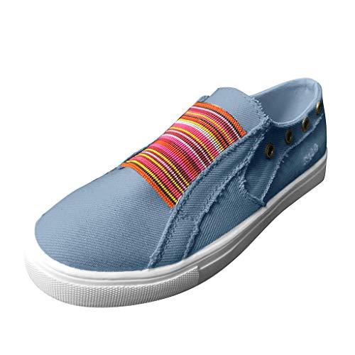 DAIFINEY Damen Segelschuhe Slip on Canvas Sneaker Atmungsaktiv Freizeitschuhe Walkingschuhe(Blau/Blue,43)