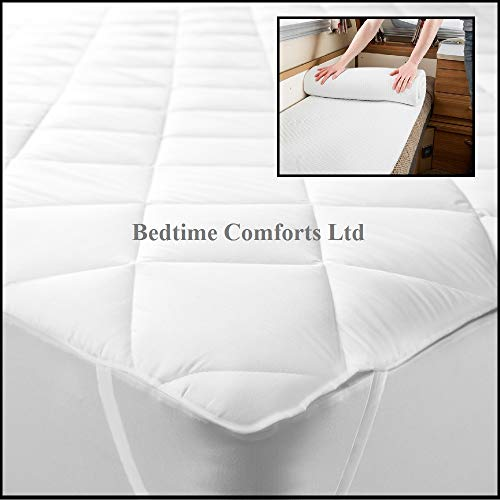 Bedtime Comforts Ltd - Colchón Acolchado para Caravana/Motor (elástico), Varios tamaños a Elegir (24 x 78), algodón Mixto, Blanco, 24