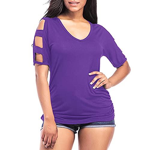 Camiseta Mujer Elegante con Cuello V Chic Sin Tirantes Manga Corta Color Sólido Mujer Blusa Verano Suelta Cómoda Tops Mujer Trabajo All-Match Mujer Tops C-Purple M