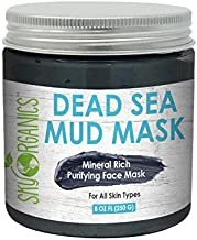 Sky Organics Dead Sea Mud Mask For Face Acne Oily Skin & Blackheads - Detoxifying Moisturizing Pore Minimizer Reducer & Cleansing Face Mask Facial Treatment - Purifying Mask, Hydrating Face Mask, 8 oz