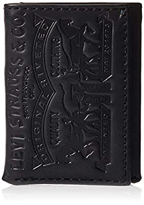 Levi's Men's Trifold Wallet - Sleek and Slim Includes ID Window and Credit Card Holder,Black Leather 2 Horse