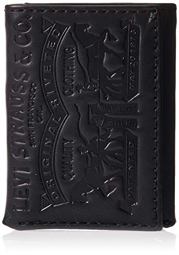 Levi's Herren Geldbörse RFID, dreifach faltbar, schmal und schmal mit Ausweisfenster und Kreditkartenfach -  Schwarz -  Einheitsgröße
