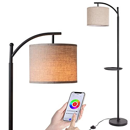 Wowatt RGB Lámpara de Pie Regulable 60W,Lámpara de Pie LED Compatible Alexa/Google Home/Voz, Lámpara de Pie Moderna Bombilla LED smart E27 Incluido,Lámpara de Pie Lectura para Salon Dormitorio Oficina