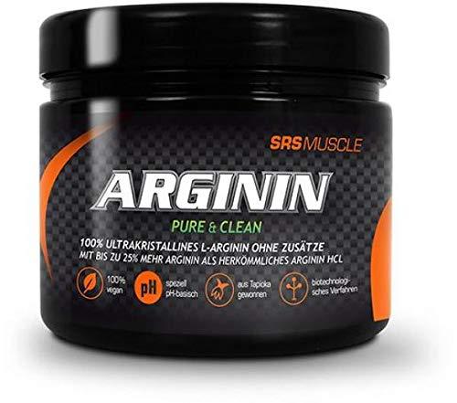 SRS Muscle – Arginina, 250 g, neutro, 100% puro senza composti | Ultra cristallino | derivato da tapioka vegetale | specificamente basico di pH | 100% vegano | Qualità tedesca