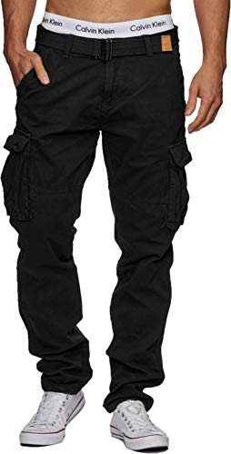 Indicode Herren William Cargohose aus Baumwolle m. 7 Taschen inkl. Gürtel | Lange Regular Fit Cargo Hose Baumwollhose Freizeithose Wanderhose Trekkinghose Outdoorhose für Männer Black XXL