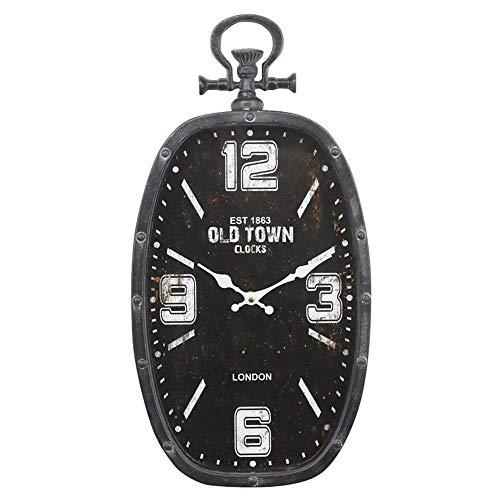 HYY-YY Europäischer und amerikanischer Stil Retro Kreative Persönlichkeit Wohnzimmer Schlafzimmer Esszimmer Korridor Ovale Form Taschenuhr Uhrwerk Jump Seconds Wanduhr leise 25 x 49 cm elegant