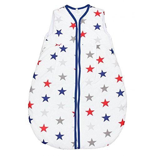 TupTam Baby Schlafsack Wattiert ohne Ärmel ANK001, Farbe: Sterne Blau/Rot, Größe: 92-98