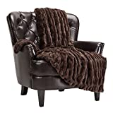 Chanasya Ruched Luxurious Soft Faux Fur Throw Blanket - Fuzzy Plush and Elegant with Reversible Mink Blanket for Sofa Chair Couch Living Room Birthday Gift and Home Decor (50x65 Inches) Mocha