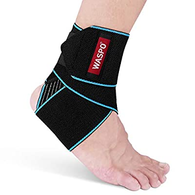 WASPO Ankle Support Brace - Adjustable Ankle Brace Wrap Strap for Sports Protect, Plantar Fasciitis, Achilles tendonitis, Ligament damage, Injury Recovery, One Size for Men Women 1 PC Blue