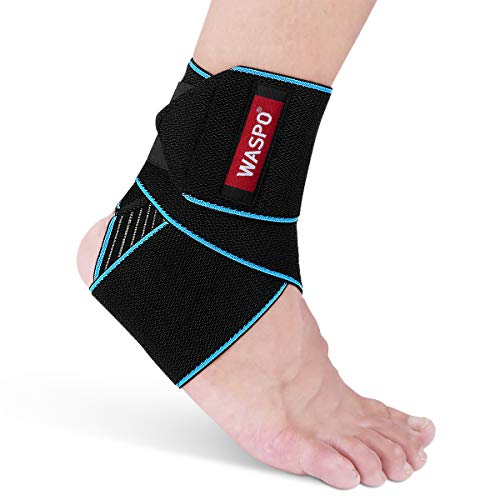 WASPO Ankle Support Brace - Adjustable Ankle Brace Wrap Strap for Sports Protect, Plantar Fasciitis,...