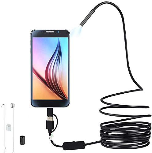 Endoscope 3 en 1 USB/Micro USB/Type-C Industriales HD Boroscopio Cámara de Inspección 6 LED...