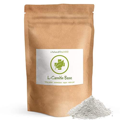 L-Carnitin Base Pulver - 100 g - Aminosäure - Fatburner - 100% veganes, reines Pulver, glutenfrei, laktosefrei - OHNE Hilfs- u. Zusatzstoffe