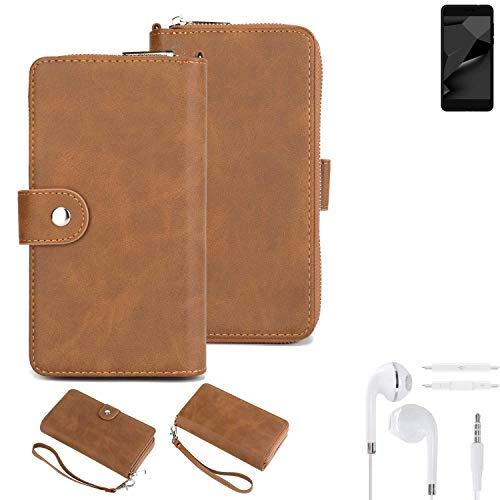 K-S-Trade® Handy-Schutz-Hülle Für Blaupunkt SL Plus 02 + Kopfhörer Portemonnee Tasche Wallet-Case Bookstyle-Etui Braun (1x)