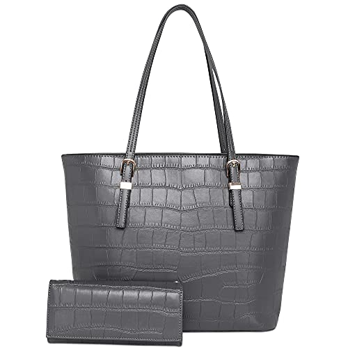 Montana West Concealed Handgun Carry Purse for Women 2 PCS Set Tote Bag with Wallet Grey CW-MWC-G027W-GY