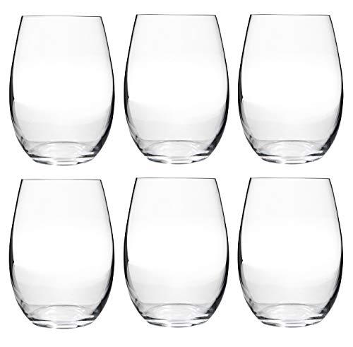 Vasos de cristal para vino y cerveza, juego de 6 unidades, cristal de Bohemia – gama Branta (400 ml), transparente, 560ml