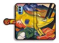 手帳型 スマホケース【世界の名画】 マルク ☆抽象画☆ art 名画 絵画 アート 美術 Google Pixel Xperia Galaxy AQUOS HUAWEI OPPO (OPPO Reno4 Pro, 黄色い牛)