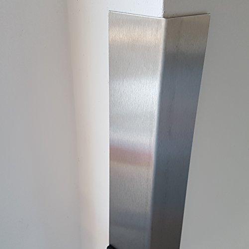 1x Winkel Edelstahl V2A K240 geschliffen 20x20x2000mm 0,8mm stark, einseitig mit Schutzfolie