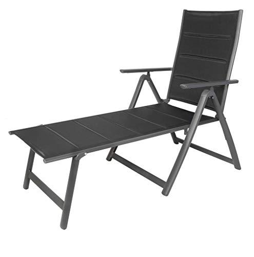 LINDER EXCLUSIV Aluminium Liege Sonnenliege Campingliege Klappliege Gartenliege gepolstert schwarz