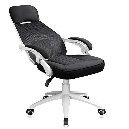 DEVAISE Ergonomics Recliner Office Chair, High Back Mesh Computer Desk Chair with Adjustable Lumbar Support, White