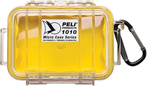 PELI 1010 Kleiner Schutzbehälter Peli Micro Case für Sensible Utensilien, IP67-Zertifiziert, 0,3L Volumen, Hergegestellt in den USA, Transparent/Gelbe Grummieinlage