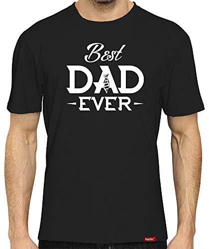 HARIZ Herren T-Shirt Papa Collection 36 Designs Wählbar Schwarz Vatertag Weihnachten Männer Geschenk Karte Urkunde Papa08 Best Dad Ever L