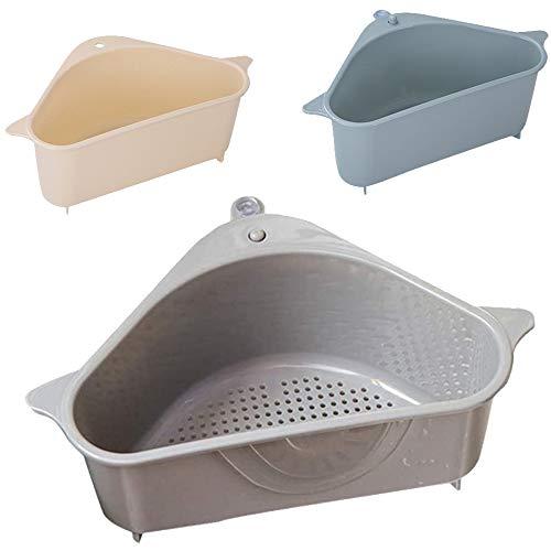 Keilafu Canasta de fregadero, estropajo organizador, Soportes de esponja para fregadero de 3 piezas para esquina de soporte de baño de cocina, cestas de drenaje de frutas duraderas con ventosa