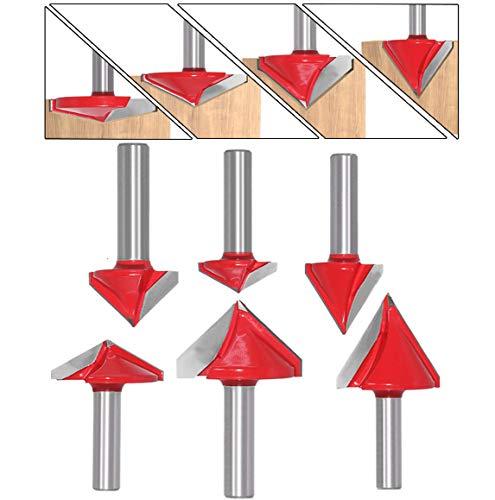 WSOOX 6 Stück 3D CNC V-nut Formfräsen Holzschneider Fräser Set mit 8mm Schaft, 60° 90° 120° V Groove Router Bit Holzbearbeitung Cutter