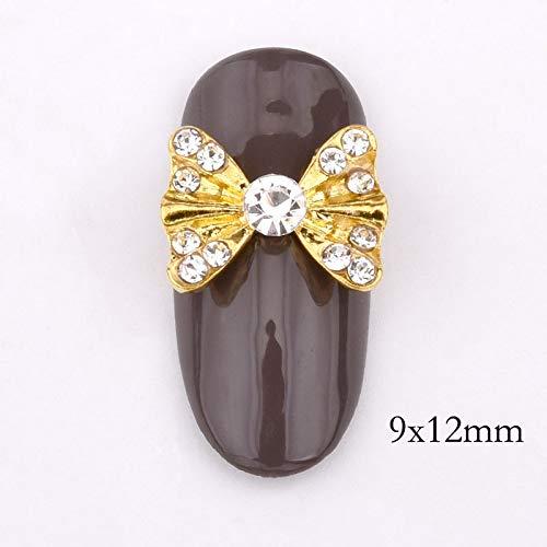 GUANGUA 10 pcs/Pack 3D Ongles Accessoires Charme Mousseux Strass Cravate Bricolage plaqué Or Ongles décoration