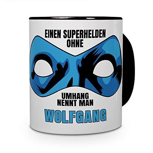 printplanet Tasse mit Namen Wolfgang - Motiv Superhelden ohne Umhang - Namenstasse, Kaffeebecher, Mug, Becher, Kaffeetasse - Farbe Schwarz