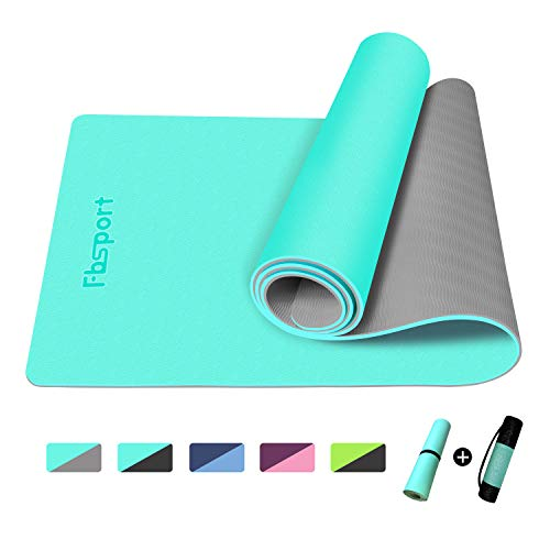 """FBSPORT Yoga Mat- Eco Friendly Non Slip 1/4 inch Fitness Exercise Mat with Carrying Strap & Storage Bag, Workout Mat for Yoga, Pilates and Floor Exercises (72""""X24""""X 1/4"""")"""