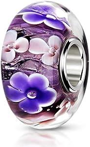 Materia 1486 - Cuentas de cristal y perlas, diseño de flores, plata 925, cristal de Murano, joya para pulsera