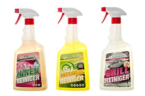 SafeGreen® 3in1 Paket, MOTORRAD- INNEN- & GRILL REINIGER, INCLUSIVE Verpackung & Versand