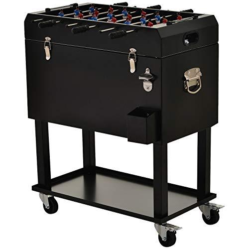 GXK Kühlbox mit Tischkicker 2-in-1 65 l Weinkühler Tischfußball Kühlwagen mit Rollen