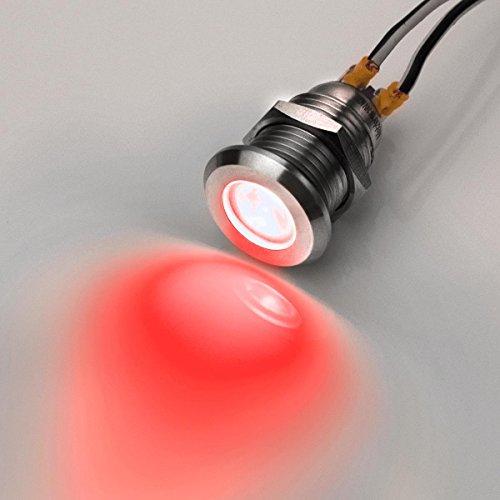 12mm - LED-Kontrollleuchte - V2A Edelstahl - 6V-24V - Wasserdicht – Rot