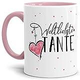 Tasse mit Spruch für die Weltbeste Tante - Kaffeetasse/Familie/Geschenk-Idee/Mug/Cup/Innen & Henkel Rosa
