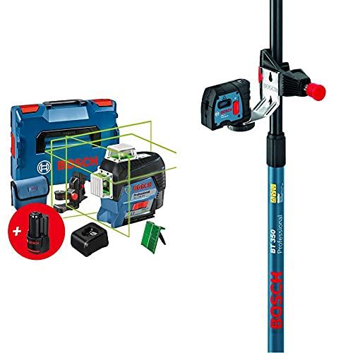 Bosch Professional 12V System Linienlaser GLL 3-80 CG (2x Akku 12 V, bis 30 m, in L-BOXX) – Amazon Edition & Teleskopstange für Laser und Nivelliergeräte BT 350 (Höhe: 140–350 cm, 3 Sektionen)