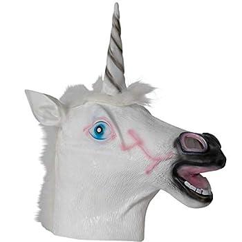 Skeleteen Unicorn Head Costume Mask - Full Face Animal Horseman Unicorn Mascot Mask for Costumes for Adults and Kids