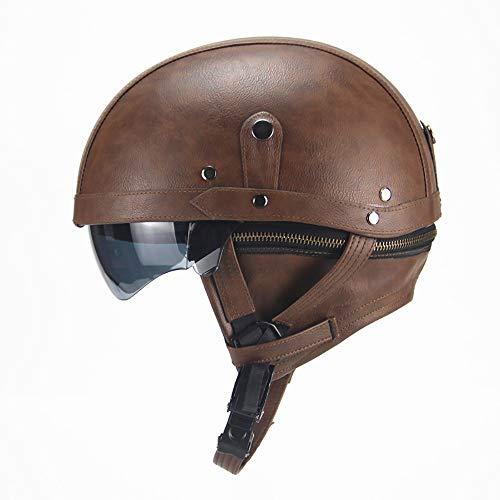 Vintage Casco Moto,Jet Estilo Vintage Cuero Lentes antivaho Windproof Sandproof ECE Certificado para Adultos Mujer y Hombre Retro Scooter Motocicleta Helmet Chopper Cruiser 56-61cm