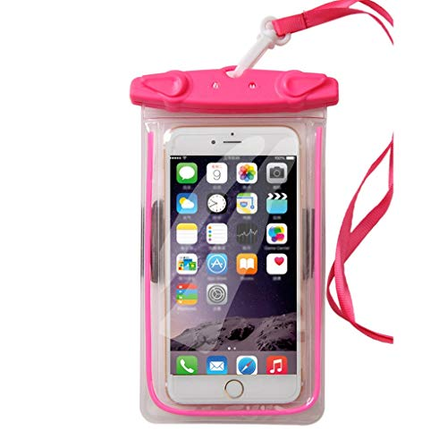 Strandtasche Reise wasserdichte Tasche Handy Outdoor Universal Transparent Tauchen Set Touchscreen Staubschutz Vier Farben 105 * 180mm XMJ (Color : Pink)