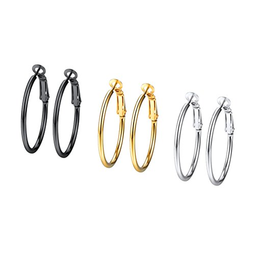 3 Piezas de Conjunto de Pendientes de Aro para Mujer 30mm Dorado Negro Plateado