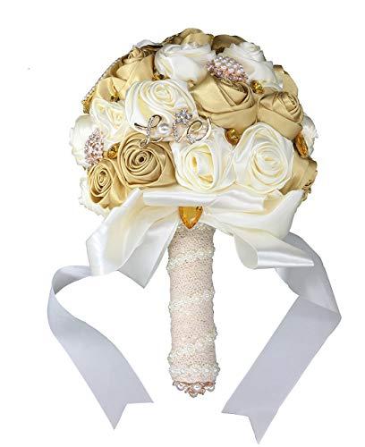 Fouriding, bouquet di fiori artificiali in stile vintage, campagnolo, bouquet da sposa, per decorazione del matrimonio Bouquet Set