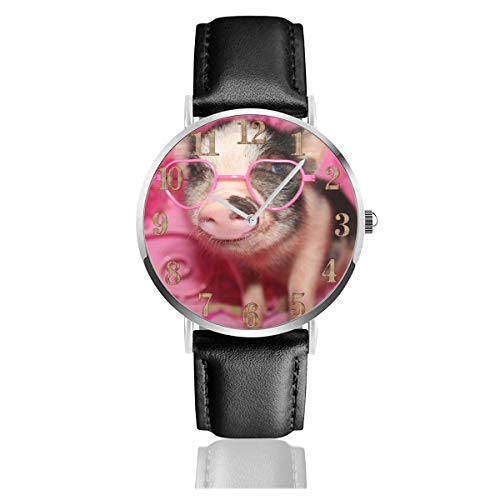 Little Pig Wear Rosa Sonnenbrille Clo Uhren PU Leder Armbanduhr Life Silence Quarzuhr mit silbernem Edelstahl