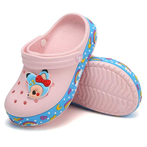 Toddler Clog Slippers Sandals|Slip On Garden Shoes for Boys and Girls|Water Shoes Sneakers Cartoon Slides for Children Beach Pool ShowerU820SDDX2-Mei red-155